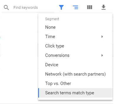AdWords filter, search terms match type